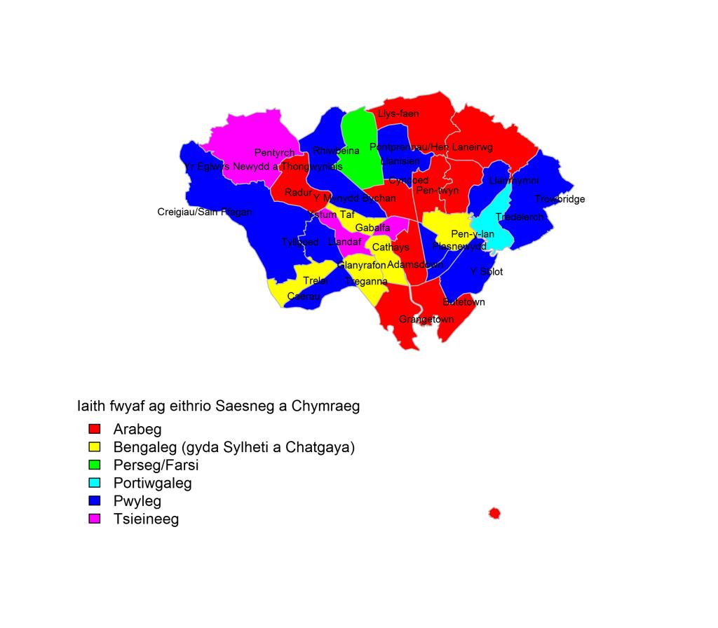 Map ieithoedd eraill Caerdydd