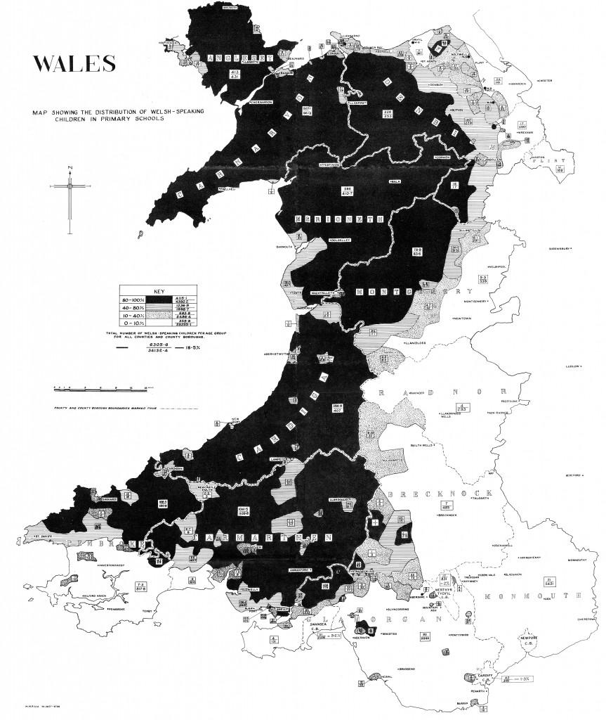 Map Cymru: iaith disgyblion 1950