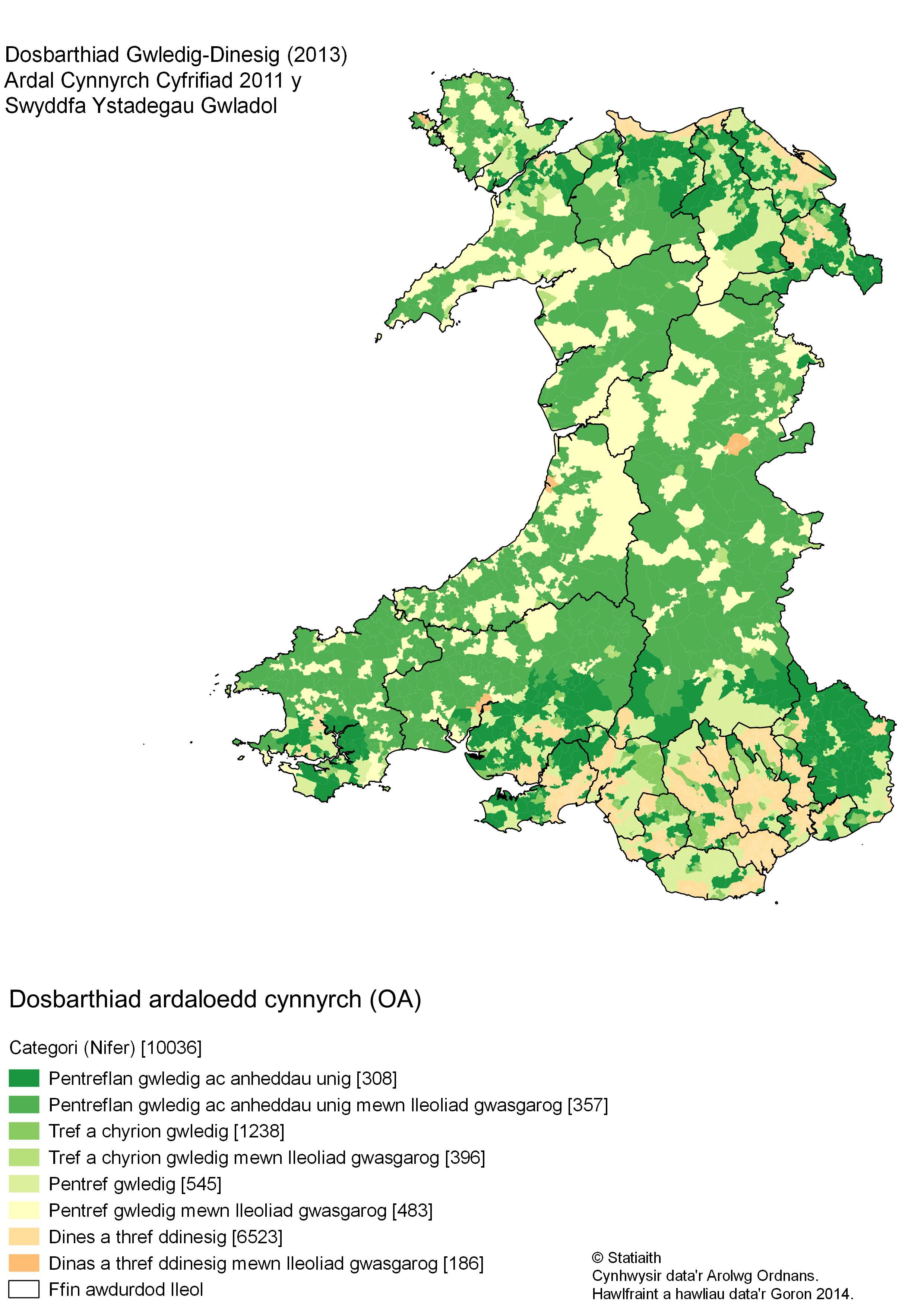 Dosbarthiad ardaloedd cynnyrch Cyfrifiad 2011 gan ddefnyddio dosbarthiad y SYG