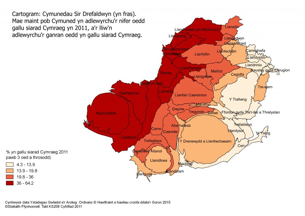 Cartogram Siaradwyr 2011 Sir Drefaldwyn