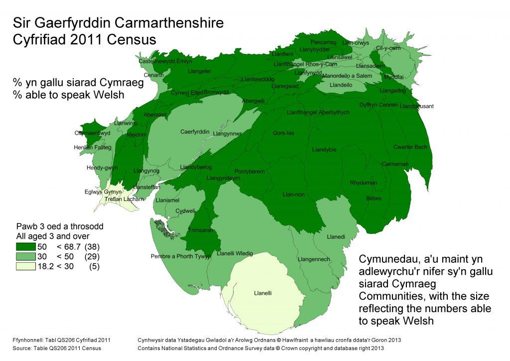 Cartogram Siaradwyr Cymraeg 2011 Sir Gaerfyrddin