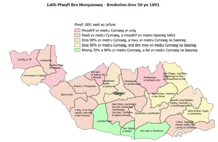 Map iaith brodorion dros 50 oed plwyfi Bro Morgannwg 1891